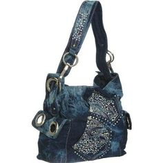 DIY denim bag idea It looks like they used the blinged out pockets to dress up the front.  Good idea. Jean, Boutiqu, Denim Rhineston, Dress Up, Denim Bag, Denim Purs, Blue Denim, Tote Bags, Tote Purs