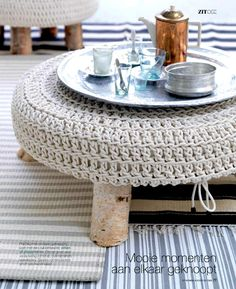 handwoven pouf / cushion / ottoman / moroccan tray / bedroom / knitted / wood / beige / grey / white