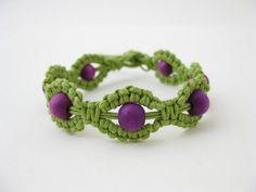 PATTERN Green and Purple Macrame Bracelet Pattern - Macrame Bracelet Tutorial - Macrame Bracelet PDF