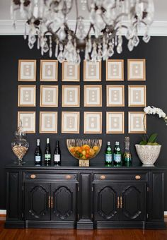 black wall and buffet
