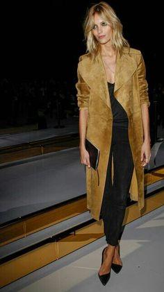 that was just last week. stunning coat. #AnjaRubik #offduty in Paris.