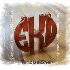 Acrylic Monogram Jewelry - Tortoise Shell Acrylic Circle Monogram Custom Necklace ( Monogram Gift , Monogram Necklace)  Wedding Gift