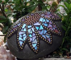 Created by Chris Emmert. Iridescent Terra Cotta, Gold and Copper Flower Mosaic Paperweight / Garden Stone