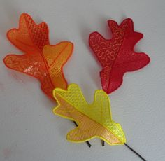 Pam's Embroidered 3D Mylar Leaves 7-9