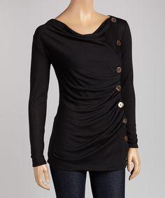 Black Button Drape Top