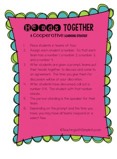 Heads Together ~ A Cooperative Learning Strategy that alleviates the hogs and logs.