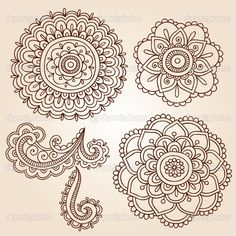 Henna Flowers | Hand-Drawn Abstract Henna Mehndi Mandala Flowers and Paisley Doodles ...