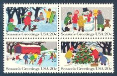 "1982_11_03 $.20 The contemporary Christmas stamps was designed by Chuck Ripper. this mint attached block of four mint stamps features children and adults (a dog is also in the designs) sledding, building a snowman, ice skating, and decorating a Christmas tree. The design includes the text ""Season's Greetings."""