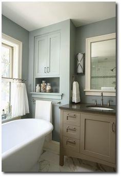Benjamin Moore Aura Bath & Spa Formula #1571 Imperial Gray Painted Bathroom Ideas, Painting Ideas, Furniture Painting, Bathroom Paint Ideas
