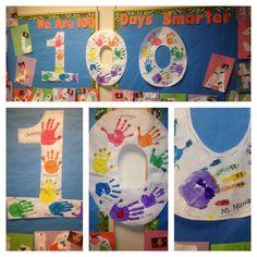 100 Days of School Ideas Bulletin board - 100 fingers