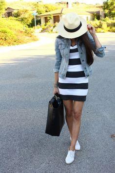 Light Denim Jacket + Black & White Dress