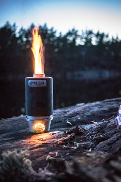 Backcountry boiler doing its job at night