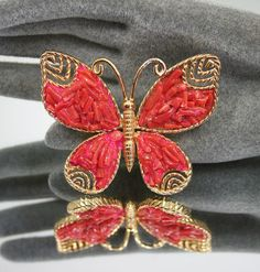 Vintage Brooch Castlecliff Butterfly Coral Branch by zephyrvintage, $45.00