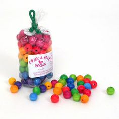 100 Colored Wooden Beads (12 mm)