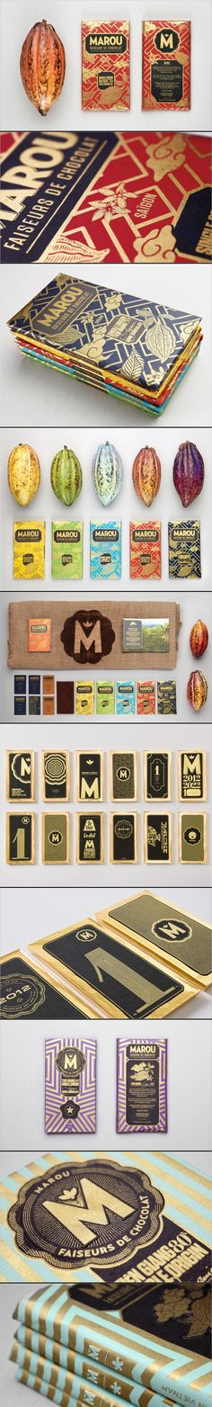 Marou Faiseurs de Chocolat /Rice Creative. oooh all this #chocolate #packaging design graphic design, food packaging, chocolat branding, chocolat rice, chocolate branding, chocol packag, faiseur de, de chocolat, chocolate packaging design
