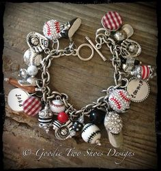 Baseball Mom Charm Bracelet, baseball bracelet, baseball jewelry, baseball mom, baseball