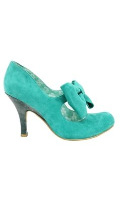 Adorable turquoise bow-front heels. Vintage inspired wedding shoes?