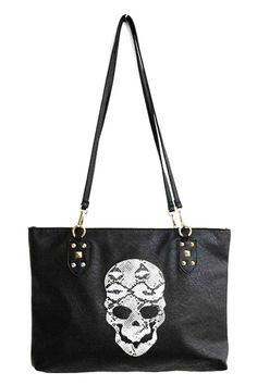 ROMWE | Skull Print Double Straps Bag