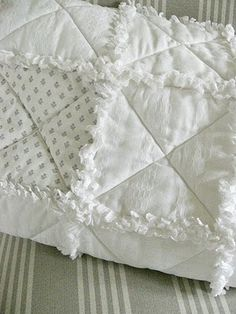 Shabby Chic Inspired: Rag Quilt Tutorial - Love this in the whites.