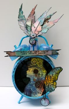Compendium of Curiosities 3 ~ Challenge #10 - Marjie Kemper - altered clock - assemblage clock with distress paints, inks, alcohol inks, shrink plastic