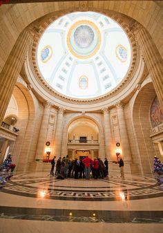 The Rotunda in the Manitoba Legislative Building, Winnipeg, Manitoba, Canada.