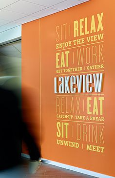 Wall graphics / dimensional   Novo Nordisk Lakeview identification
