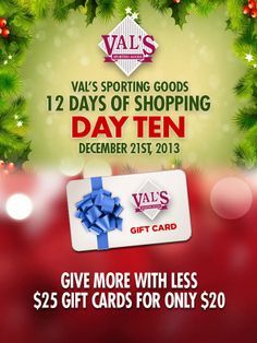 """1 of the 12 separate web graphics for the """"12 Days of Shopping"""" for Val's Sporting Goods"""