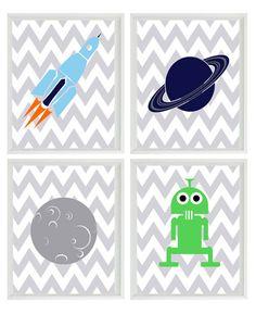 Outer Space Art Print Set - Boy Room Nursery Chevron Stripes - Space Ship Alien Planet - Kid Wall Art Children Room Decor 4 8x10 Prints. $50.00, via Etsy.