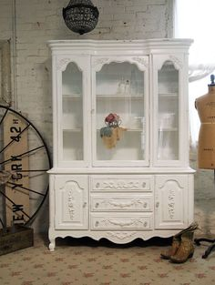 Painted Cottages on etsy.com  This is what I'm doing to my china cabinet! french provincial, buffets, paint cottag, cottage chic, china cabinets, cottages, painted cabinets, crissi kitchen, floor idea