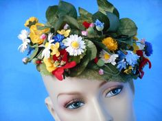 Bright floral 1960's hat by Mr. John DemiChapeau by ChekkaMoon, $15.00