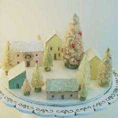 Handmade Christmas Village with Trees- Vintage Style Wooden Houses-Mica Snow-5 Houses and 8 Trees