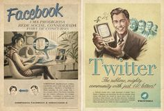 Old-timey social media advertisements.
