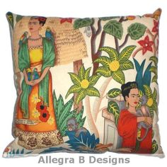 Frida Kahlo Decorative Throw Pillow Mexican Art Home by AllegraB, $17.00