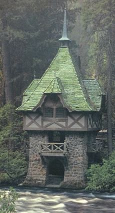One of several storybook structures at Wyntoon, William Randolph Hearst's private woodland retreat for his wife, designed by Julia Morgan, who also designed Hearst Castle at San Simeon.