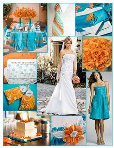Teal and orange wedding inspiration