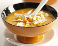 Try our Velvety Pumpkin #Soup with #Boursault slices | #Cheese #Soup #Recipe