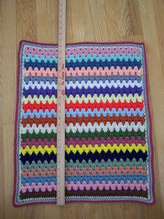 "Crochet Doll Quilt Blanket Bedding, 23"" X 19"", Granny Stripe, for 18"" dolls such as American Girl Dolls. $15.00, via Etsy."