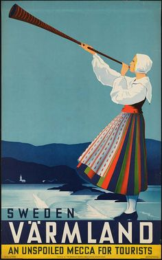 Värmland, Sweden vintage travel poster ~ 'An unspoiled mecca for tourists'