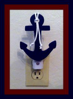 Navy Blue Nautical Anchor Night Light - Nautical Kids Room - Nautical themed Nursery - Beach Nursery - Nautical Decor
