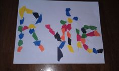 Cute, simple project to do with kids.. Ripped paper art.  Now I know to write the kids' names with the letters more spread out. And the more colorful the ripped paper, the better it looks.