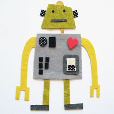 robot fabric collage