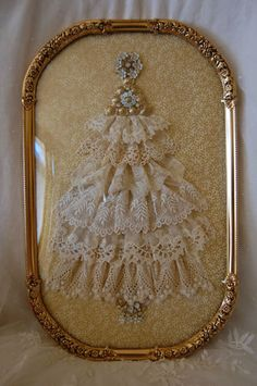 frame, antique lace, antiqu french, christma tree, antiqu lace, lace tree, lace christmas trees