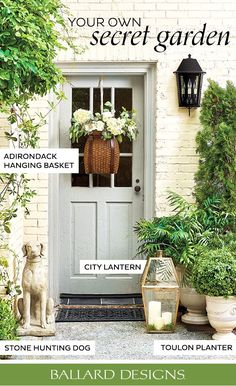 Shop Outdoor Decor and Outdoor Accessories to create your own secret garden. #OutdoorDecor #OutdoorAccessories #FrontDoorDecor