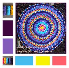 vermicelli mandala, pattern, crochet mandala, rainbow vermicelli, rainbow mandala