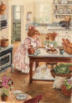 Susan Wheeler rabbit, mice, ponds, art, baking fun, susan wheeler, tea, cottage kitchens, susan branch