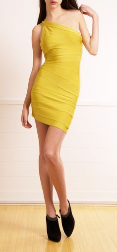 HERVE LEGER One-Shoulder Bandage Dress In Yellow