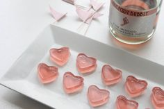 Spread the love with these pink champagne heart shaped Jell-O shots. #party