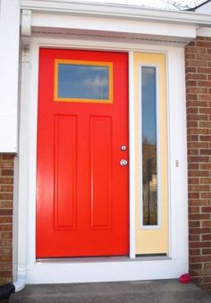 Make a fun entrance with Benjamin Moore Tomato Red 2010-10, Yellow Haze 2017-50, and Sweet Orange 2017-40 enjoy color, paint colors
