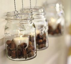 fall acorn mason jar lanterns