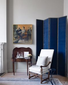 blue folding screen